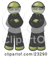 Two Olive Green Men Standing With Their Arms Crossed Wearing Sunglasses And Black Suits