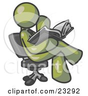 Olive Green Man Sitting Cross Legged In A Chair And Reading A Book