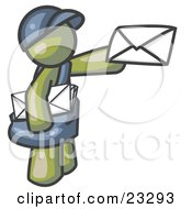Clipart Illustration Of An Olive Green Mail Man Delivering A Letter