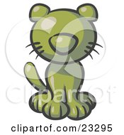 Clipart Illustration Of A Cute Olive Green Kitty Cat Looking Curiously At The Viewer