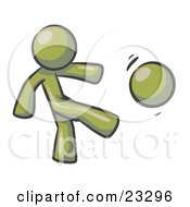 Clipart Illustration Of An Olive GreenMan Kicking A Ball Really Hard While Playing A Game