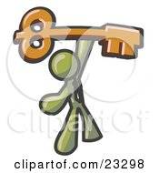 Clipart Illustration Of An Olive Green Businessman Holding A Large Golden Skeleton Key Symbolizing Success