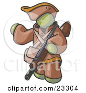 Olive Green Man In Hunting Gear Carrying A Rifle