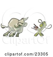 Olive Green Man Holding A Stool And Whip While Taming A Bull Bull Market