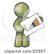 Clipart Illustration Of An Olive Green Man Holding A Bar Graph Displaying An Increase In Profit by Leo Blanchette