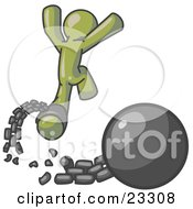 Clipart Illustration Of An Olive Green Man Jumping For Joy While Breaking Away From A Ball And Chain Symbolizing Freedom From Debt Or Divorce
