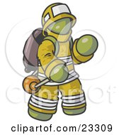 Olive Green Fireman In A Uniform Fighting A Fire