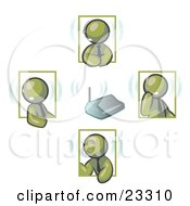 Clipart Illustration Of Olive Green Men Holding A Phone Meeting And Wearing Wireless Headsets