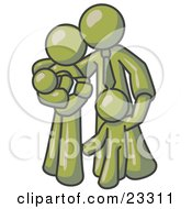 Clipart Illustration Of An Olive Green Family Man A Father Hugging His Wife And Two Children