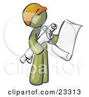 Olive Green Man Contractor Or Architect Holding Rolled Blueprints And Designs And Wearing A Hardhat