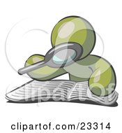 Clipart Illustration Of An Olive Green Man Using A Magnifying Glass To Examine The Facts In The Daily Newspaper