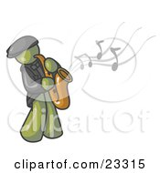 Clipart Illustration Of A Musical Olive Green Man Playing Jazz With A Saxophone