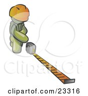 Clipart Illustration Of An Olive Green Man Contractor Wearing A Hardhat Kneeling And Measuring
