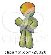 Clipart Illustration Of A Friendly Olive Green Construction Worker Or Handyman Wearing A Hardhat And Tool Belt And Waving