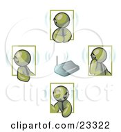Clipart Illustration Of A Group Of Four Olive Green Men Holding A Phone Meeting And Wearing Wireless Bluetooth Headsets