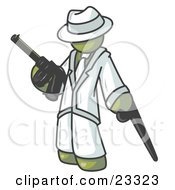 Clipart Illustration Of An Olive Green Gangster Man Carrying A Gun And Leaning On A Cane