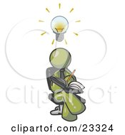 Smart Olive Green Man Seated With His Legs Crossed Brainstorming And Writing Ideas Down In A Notebook Lightbulb Over His Head