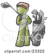 Clipart Illustration Of An Olive Green Man Standing By His Golf Clubs