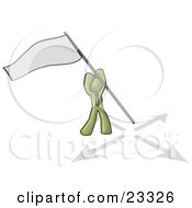 Clipart Illustration Of An Olive Green Man Claiming Territory Or Capturing The Flag