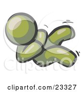 Happy Olive Green Man Rolling On The Floor And Giggling With Laughter by Leo Blanchette