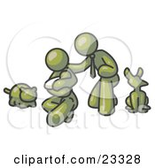 Clipart Illustration Of An Olive Green Family Father Mother And Newborn Baby With Their Dog And Cat by Leo Blanchette