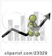 Clipart Illustration Of An Olive Green Man Using A Laptop Computer Riding The Increasing Arrow Line On A Business Chart Graph