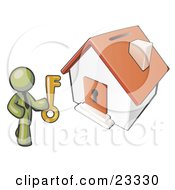 Clipart Illustration Of An Olive Green Businessman Holding A Skeleton Key And Standing In Front Of A House With A Coin Slot And Keyhole