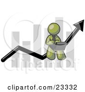 Clipart Illustration Of An Olive Green Man Conducting Business On A Laptop Computer On An Arrow Moving Upwards In Front Of A Bar Graph Symbolizing Success