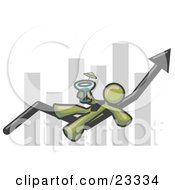 Clipart Illustration Of An Olive Green Business Owner Man Relaxing On An Increase Bar And Drinking Finally Taking A Break