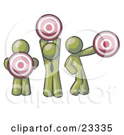 Clipart Illustration Of A Group Of Three Olive Green Men Holding Red Targets In Different Positions by Leo Blanchette