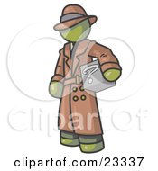 Clipart Illustration Of A Secretive Olive Green Man In A Trench Coat And Hat Carrying A Box With A Question Mark On It