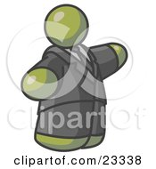 Clipart Illustration Of A Big Olive Green Business Man In A Suit And Tie