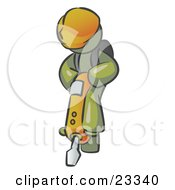 Clipart Illustration Of An Olive Green Construction Worker Man Wearing A Hardhat And Operating A Yellow Jackhammer While Doing Road Work by Leo Blanchette