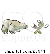 Clipart Illustration Of An Olive Green Man Holding A Stool And Whip While Taming A Bear Bear Market by Leo Blanchette