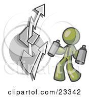 Clipart Illustration Of An Olive Green Business Man Spray Painting A Graffiti Dollar Sign On A Wall by Leo Blanchette