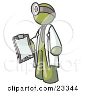 Clipart Illustration Of An Olive Green Male Doctor Holding A Clipboard And Wearing A Head Lamp