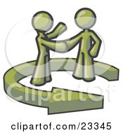 Poster, Art Print Of Olive Green Salesman Shaking Hands With A Client While Making A Deal