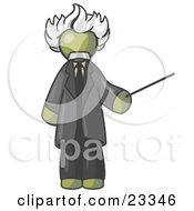 Olive Green Man Depicted As Albert Einstein Holding A Pointer Stick