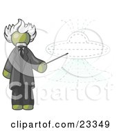 Olive Green Einstein Man Pointing A Stick At A Presentation Of A Flying Saucer