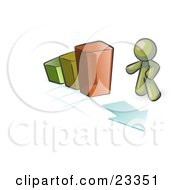 Clipart Illustration Of An Olive Green Man Standing By An Increasing Green Yellow And Orange Bar Graph On A Grid Background With An Arrow by Leo Blanchette