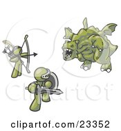 Clipart Illustration Of Two Olive Green Men Working Together To Conquer An Obstacle A Dragon by Leo Blanchette