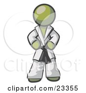 Tough Olive Green Man In A White Karate Suit And A Black Belt Standing With His Hands On His Hips