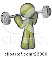Clipart Illustration Of An Olive Green Man Lifting A Barbell While Strength Training