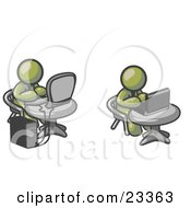 Clipart Illustration Of Two Olive Green Men Employees Working On Computers In An Office One Using A Desktop The Other Using A Laptop