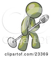 Clipart Illustration Of An Olive Green Man In A Tie Singing Songs On Stage During A Concert Or At A Karaoke Bar While Tipping The Microphone by Leo Blanchette