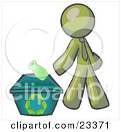 Clipart Illustration Of An Olive Green Man Tossing A Plastic Container Into A Recycle Bin Symbolizing Someone Doing Their Part To Help The Environment And To Be Earth Friendly
