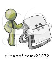 Clipart Illustration Of An Olive Green Businessman Standing Beside A Rotary Card File With Blank Index Cards