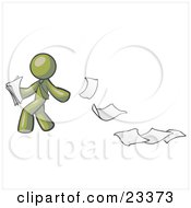 Clipart Illustration Of An Olive Green Man Dropping White Sheets Of Paper On A Ground And Leaving A Paper Trail Symbolizing Waste