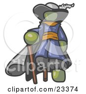 Clipart Illustration Of An Olive Green Male Pirate With A Cane And A Peg Leg