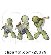 Clipart Illustration Of Three Olive Green Men Playing Flutes And Drums At A Music Concert